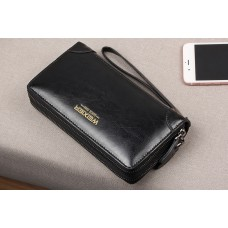 WEIXIER Genuine Leather Clutch Bag Black with Double Zipper Pocket Black MCB016