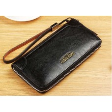 WEIXIER Genuine Leather Clutch Bag Black with Single Zipper Pocket MCB026 Black