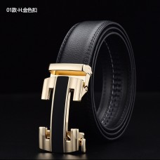 CROSSTEN Genuine Cowskin Leather Belt with Automatic Buckle Gold (Size : 3.8 x125cm) MGB002 - No DC