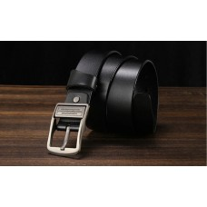 CROSSTEN Genuine Cowskin Leather Belt Light Black with Pin Buckle (Size : 3.8 x 125cm) MGB007 - No DC