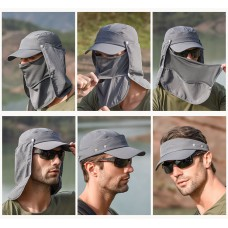 UV Protection Cap Detachable Front/Back Cover and Detachable Top Gray