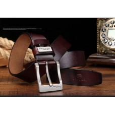 Genuine Leather Belt with High Quality Aluminium Buckle Type A Brown 125cm