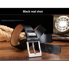 Genuine Leather Belt with High Quality Aluminium Buckle Type A Black 125cm