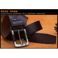 Genuine Leather Belt with High Quality Aluminium Buckle Type B Brown 125cm