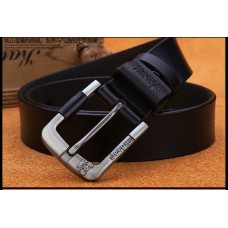 Genuine Leather Belt with High Quality Aluminium Buckle Type B Black 125cm