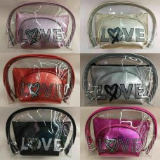 Cosmetic Bag Love CB3011 (3 pcs/Set) - (Mixed color 6 Set/Pack)