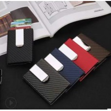 Credit Card Holder Black Carbon Fibre With Aluminum Metal Anti RFID function Red CC004 ( No DC)