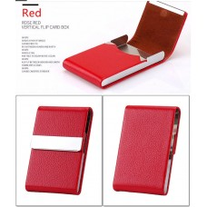 Credit Card Case Metal Wallet PU Leather Aluminum Red CC005