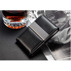 Credit Card Case Metal Wallet PU Leather Solid Steel Box Black