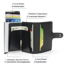 Automatic Wallet Credit Card Holder Case Aluminum Alloy Anti-Degaussing Anti-Theft RFID Black CC003