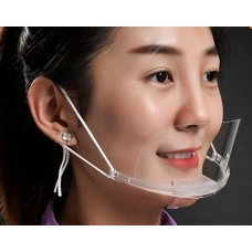 Sanitary Clear Plastic Face Mask for Kitchen and Restaurant (10 ea / Box)  - No DC