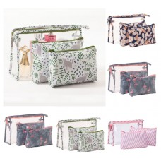 Cosmetic Bag  3pcs Set - (5 Mixed Design Set/Pack)