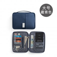 Travel Passport Organizer Blue Large (25.5 x 18.5  x 2cm) - No DC
