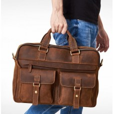 CROSSTEN Top Quality 100% Cowhide Genuine Leather Briefcase (42 x 30 x 10cm) - No DC