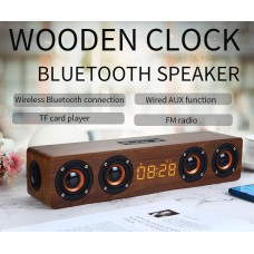 Wooden Bluetooth  Soundbar Speaker with 2 Sub-Woofer with 6 hour playing 3000 mAh Rechargeable Battery - No DC