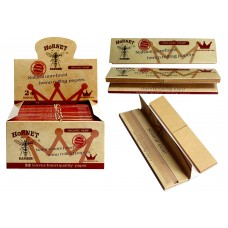 Hornet Natural Unrefined Hemp Rolling Paper 110mm  with Tip 110mm 32 Leaves (24 ea/ Disaply Box) - ($0.75/ea)