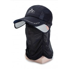 UV Protection Cap with Expandable Side and with Detachable Face/Neck Cover Black - No DC