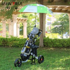 Foldable 3 Wheel Golf Trolley Aluminium Body Frame with Umbrella Stand GF3001 (No DC) - Out of Stock