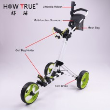 Foldable 3 Wheel Golf Trolley with Umbrella Stand GF3002 (No DC)