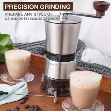 Manual Professional Coffee Grinder Conical Ceramic Burr 304 Stainless Steel (17.5 x 8.5cm) - No DC