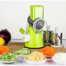 Manual Safety 3 Blade Rotary Vegetable Cutter / Slicer / Grater with Finger Safety Pusher