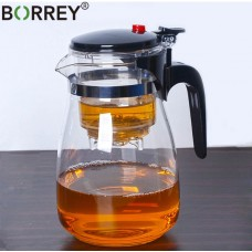 BORREY Heat Resistant Glass Teapot With Infuser Filter 1200ml
