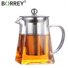 BORREY Heat Resistant Square Glass Teapot With Stainless Infuser Filter 350ml
