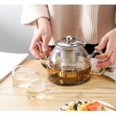 Borosilicate Electromagnetic Glass Teapot With Stainless Infuser Filter 750ml