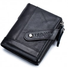 LAOSHIZI Genuine Leather Wallet with Strap Black 91612