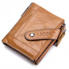 LAOSHIZI Genuine Leather Wallet with Strap Orange Brown 91612