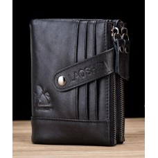 LAOSHIZI Genuine Leather Double Zipper Wallet with Strap Black 91614
