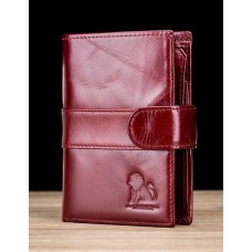 LAOSHIZI Genuine Leather Wallet with Strap Claret Wine 91615