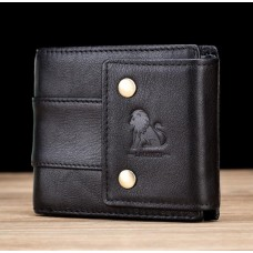 LAOSHIZI Genuine Leather Wallet with Wide Strap Black 91619