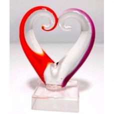 Glass Art Heart--Red and Pink 3pcs/Set Small (6.3x4.9cm) (NO DC)