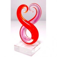 Glass Art Koru Pair--Red and Pink 3pcs/Set Small (7.3x3.7cm) (NO DC)