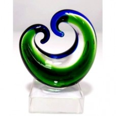 Glass Art Koru Curling--Green and Blue 3pcs/Set Small (5.0x4.2cm) (NO DC)