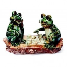 Porcelain Two Frogs Playing Chess  (26X11.5X16cm) (NO DC)