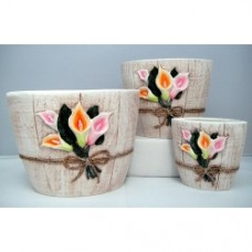 Pottery Flower Pot 3pcs/set 7001 (NO DC)