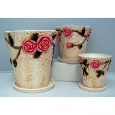 Pottery Rose Pot 3pcs/set (NO DC)