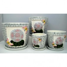 Pottery Flower Pot 4pcs/set 7004 (NO DC)