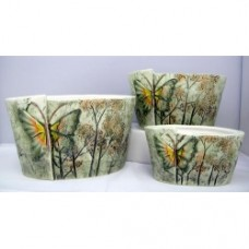 Pottery Flower Pot Butterflly Pot 3pcs/set 7006 (NO DC)