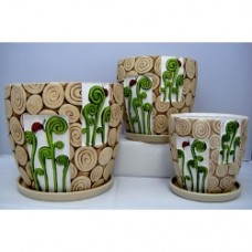 Pottery Flower Pot Koru Pot 3pcs/set 7007 (NO DC)