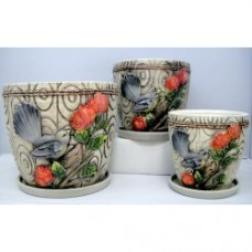 Pottery Flower Pot Fantail and Pohutukawa Pot 3pcs/set 7008 (NO DC)