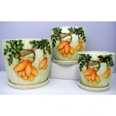 Pottery Flower Pot Kowhai Pot 3pcs/set 7010 (NO DC)