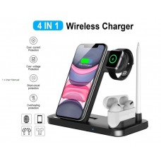 4 In 1 Wireless Charger For Apple Watch AirPods Pro Pencil 10W Fast Charging Dock Station - No DC